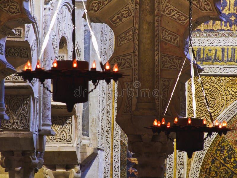 Lampes arabes de la mosquée de Cordoue Espagne photographie stock libre de droits