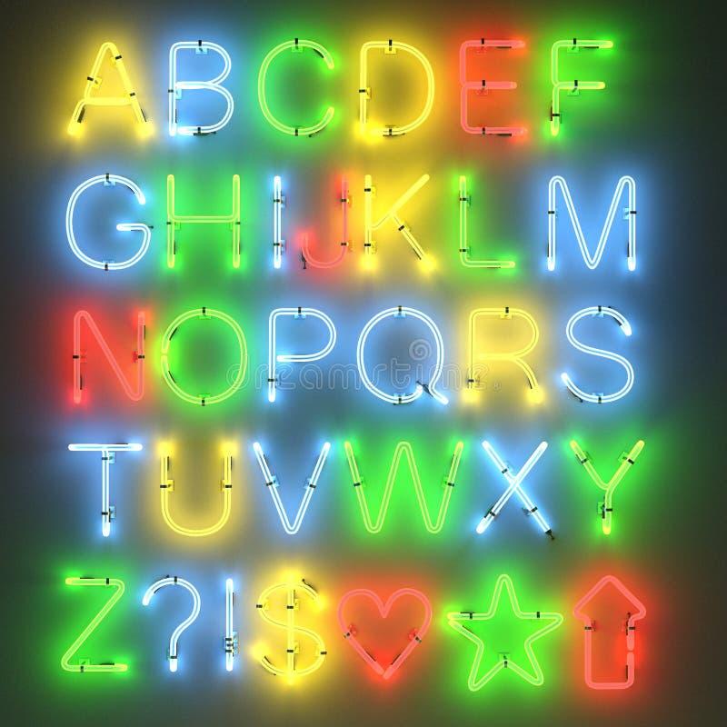 Lampes au néon - alphabet illustration de vecteur
