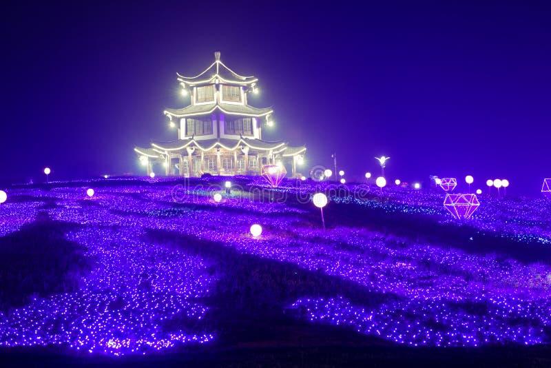 Lampes au néon avec de formes-Le le festival de lanterne différent d'abord à Nan-Tchang images libres de droits