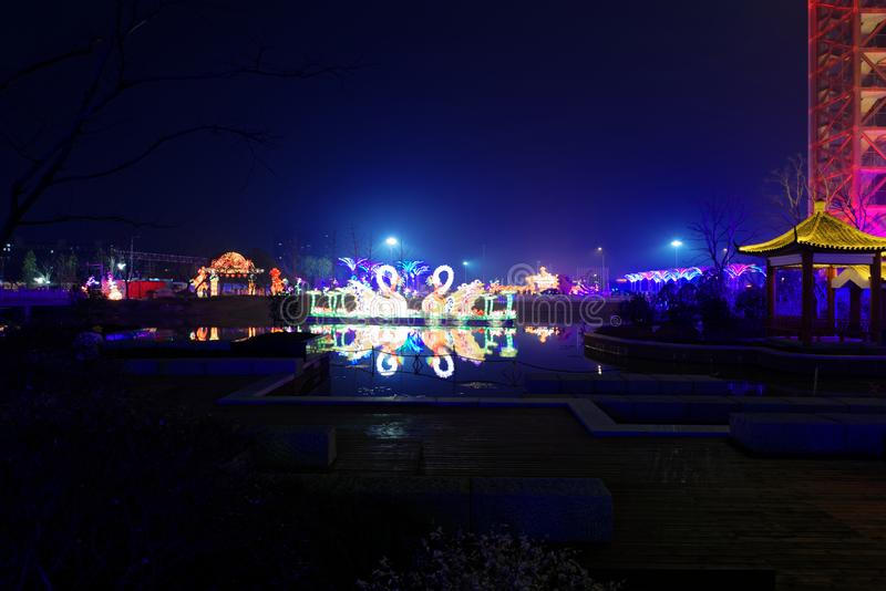 Lampes au néon avec différentes formes image libre de droits
