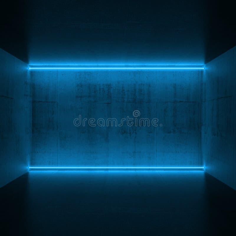 Lampes au néon bleues, 3d rendre illustration de vecteur
