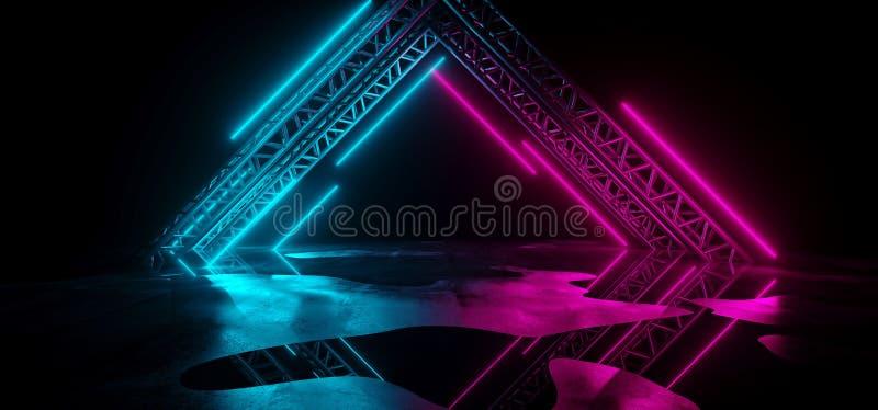 Lampes au néon bleues pourpres de la science fiction futuriste moderne sur l'escroquerie abstraite illustration de vecteur