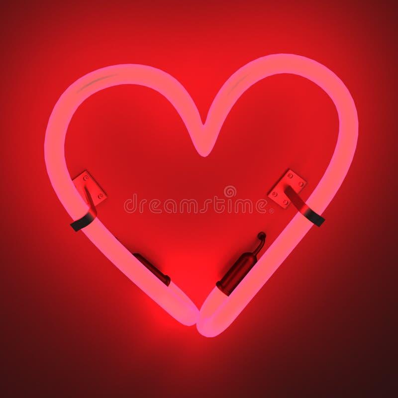 Lampes au néon - coeur illustration de vecteur