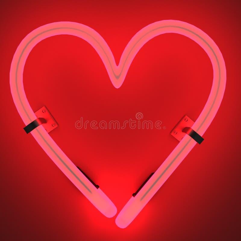 Lampes au néon - coeur illustration libre de droits