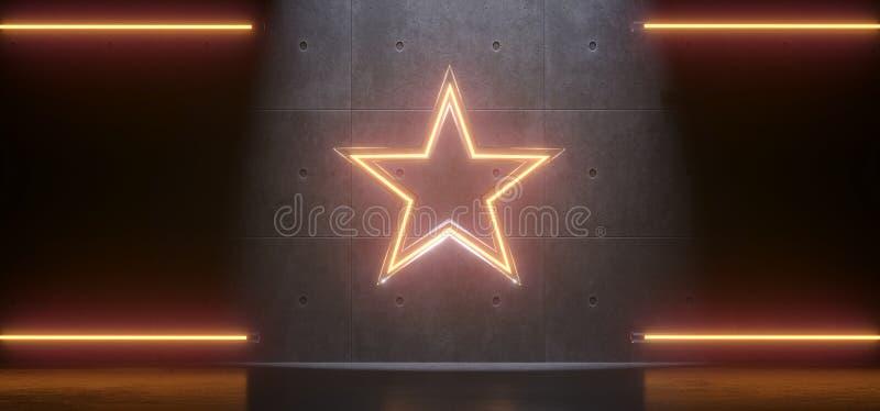 Lampes au néon d'étoile abstraite illustration stock