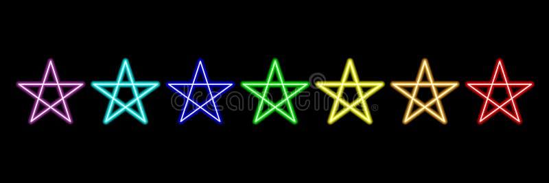 lampes au néon d'étoile d'arc-en-ciel sur noir, illustration de vecteur illustration libre de droits