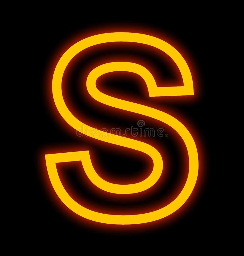 Lampes au néon de la lettre S décrites d'isolement sur le noir illustration libre de droits