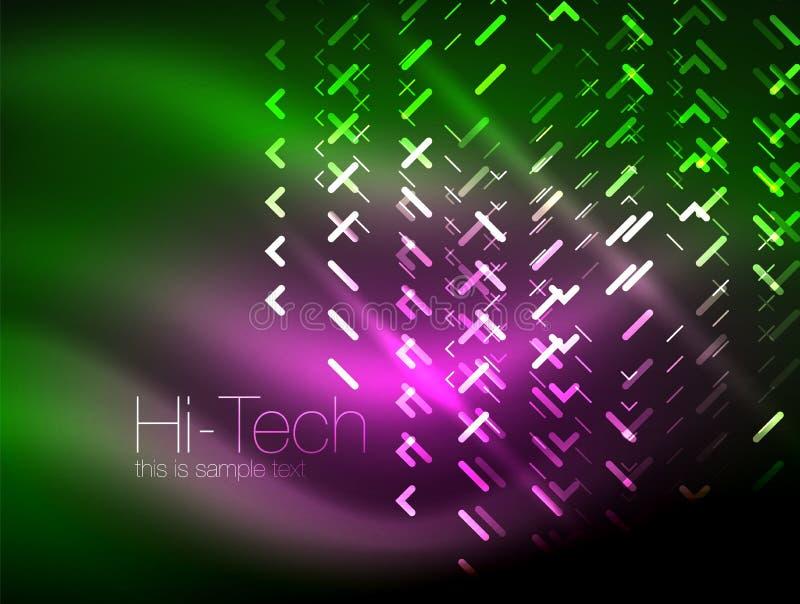 Lampes au néon futuristes sur le fond foncé, milieux abstraits numériques de techno illustration de vecteur