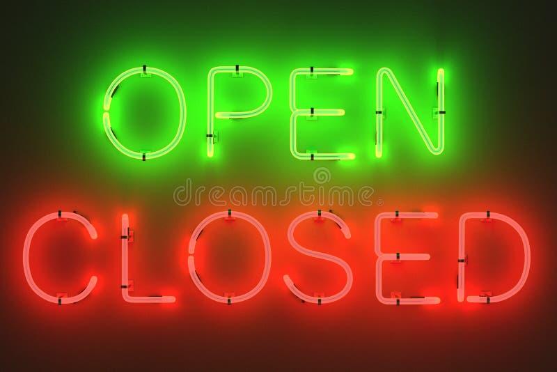 lampes au néon - ouvertes et signes fermés illustration stock