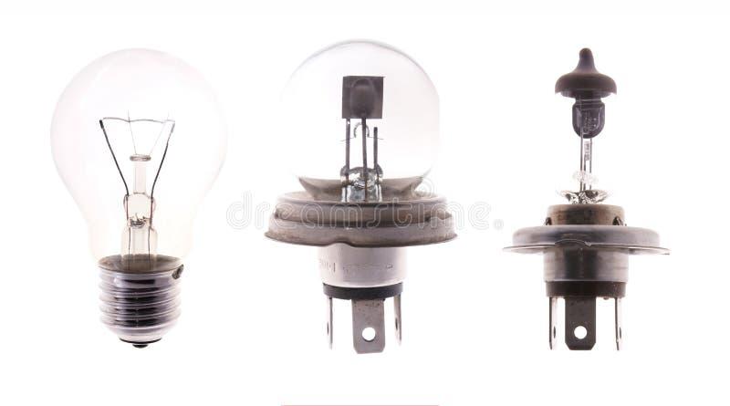 Lampes d'ampoule d'isolement sur le blanc photographie stock