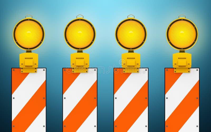 Lampes d'avertissement du trafic jaune illustration de vecteur