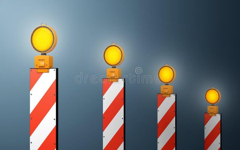 Lampes d'avertissement du trafic jaune Chemin de coupure illustration de vecteur