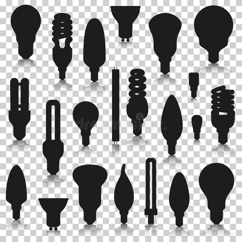 Lampes de Ligth réglées Icônes de silhouette avec la réflexion sur le fond transparent illustration stock
