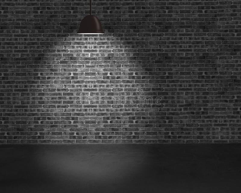 Lampes de plafond d'éclairage avec le mur de briques et la terre concrète photographie stock