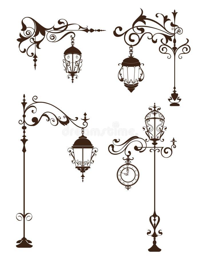 Lampes de vintage avec des éléments de conception et des flourishes d'ornements illustration stock