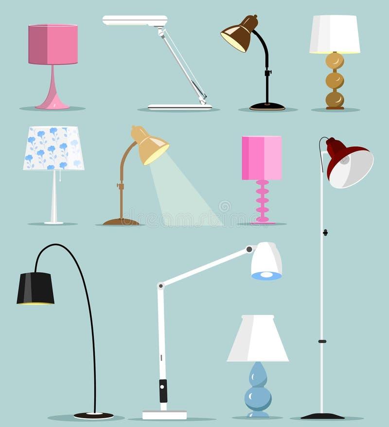Lampes modernes colorées réglées Illustration plate de vecteur de style illustration stock
