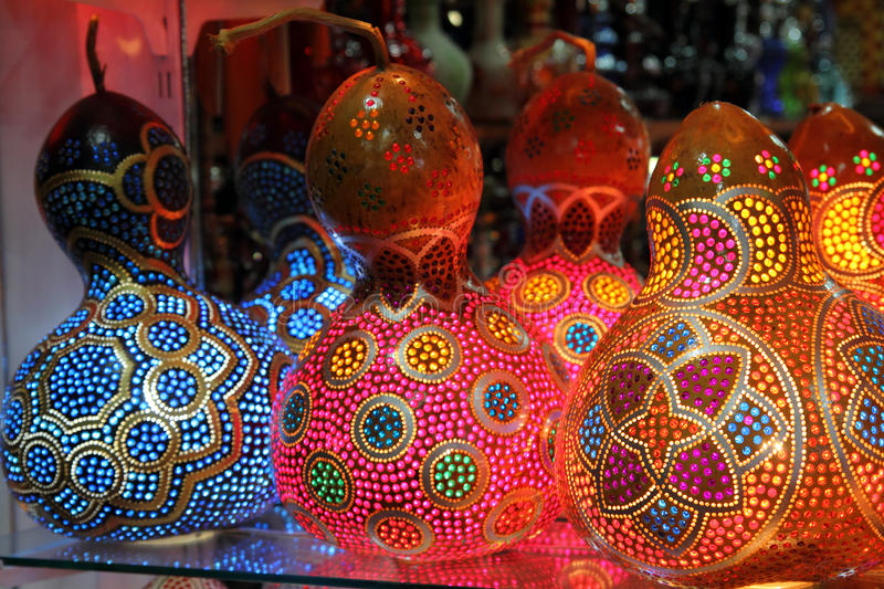 Lampes multicolores traditionnelles turques images libres de droits