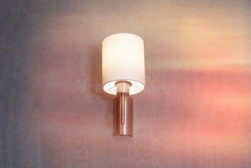 Lampett inre hotellrum för lampa, lampskärm arkivfoto