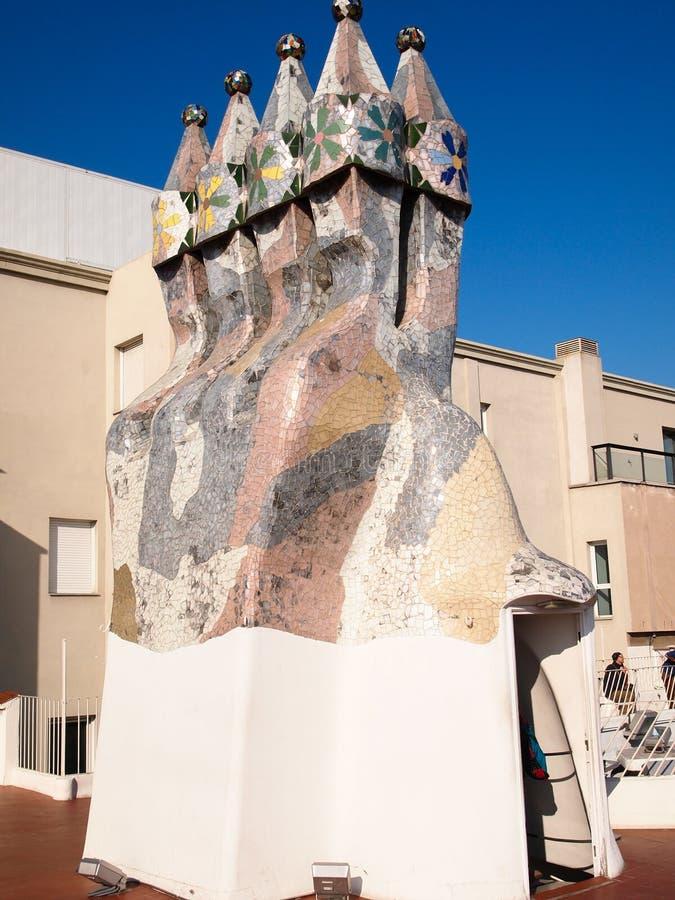 Lampglas för CasaBatllo mosaik arkivbilder