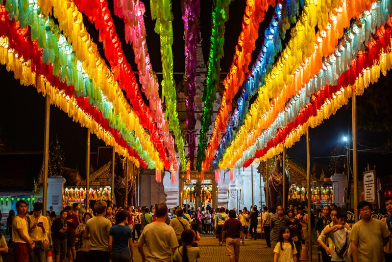 LAMPHUN, THAILAND - November 9, 2019 : Lamphun Lantern Festival in Phra That Hariphunchai temple. Lamphun province stock images