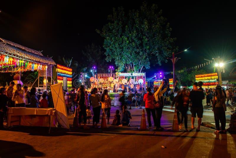 LAMPHUN, THAILAND - November 9, 2019 : Lamphun Lantern Festival in Phra That Hariphunchai temple. Lamphun province royalty free stock images