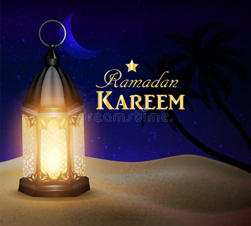 Lampionów stojaki w pustyni przy nocnym niebem ilustracja wektor