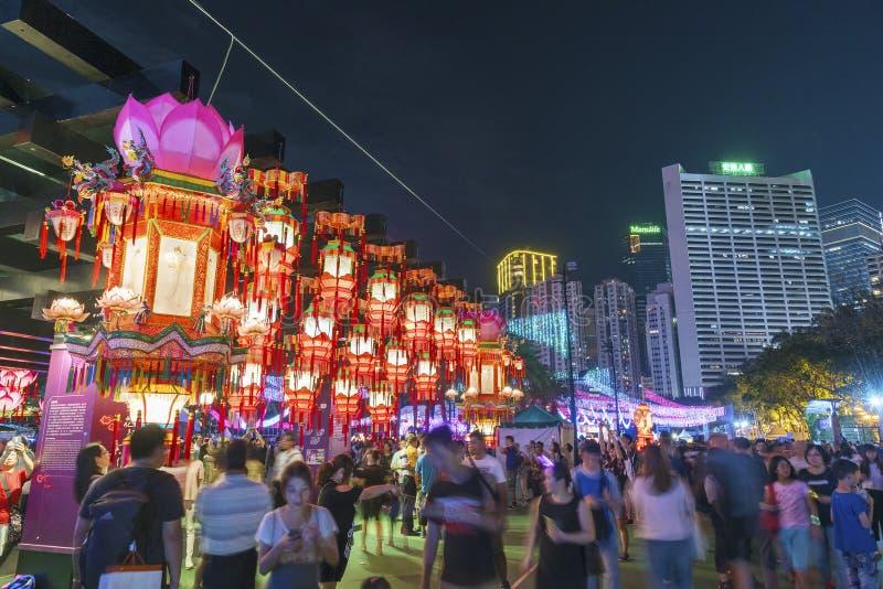 Lampion chinois dans le mi festival d'automne en Hong Kong images stock