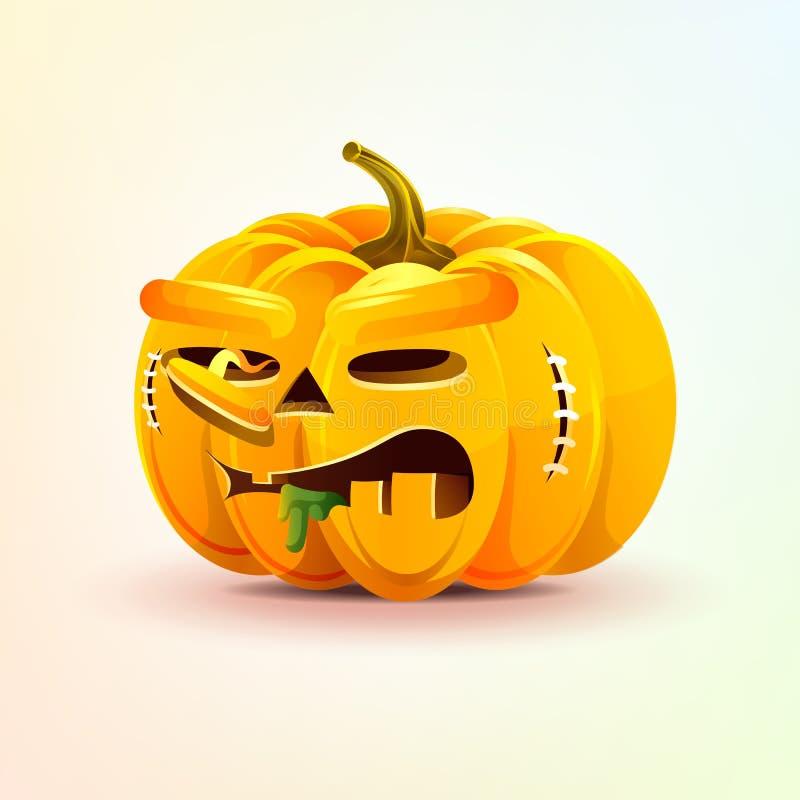 Lampion, okropna wyraz twarzy jesieni bania ilustracji