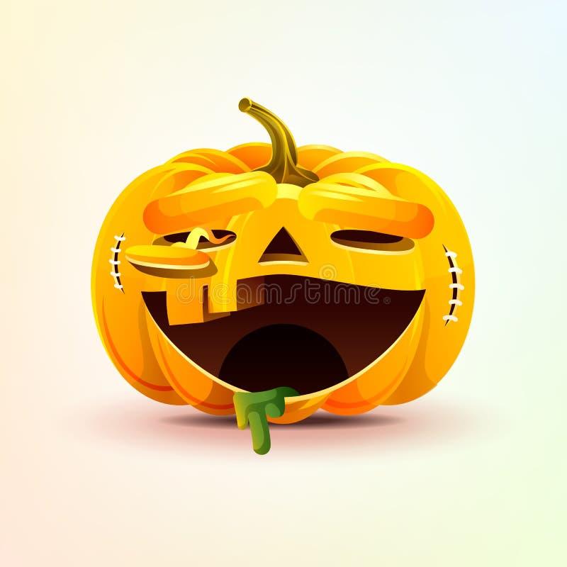 Lampion, okropna wyrazu twarzy smiley bania z roześmianą emocją, emoji majcher dla Szczęśliwego Halloween ilustracji