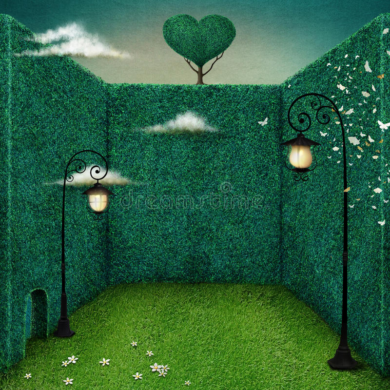 Lampion w zielonym pokoju royalty ilustracja