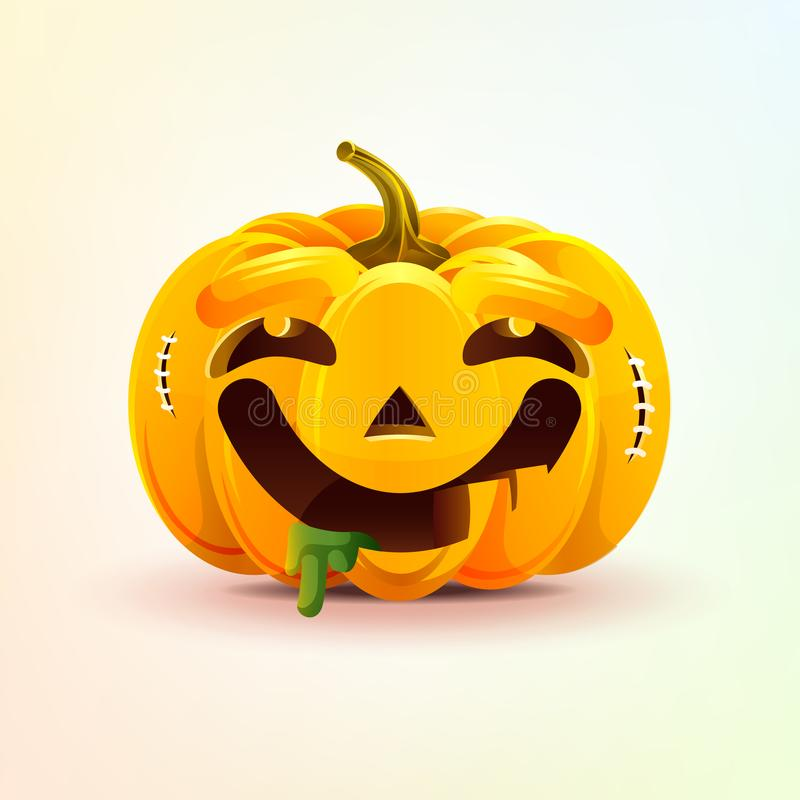 Lampion, wyraz twarzy bania z dreamily uśmiechniętą smiley emocją, emoji, majcher dla Szczęśliwego Halloween ilustracja wektor