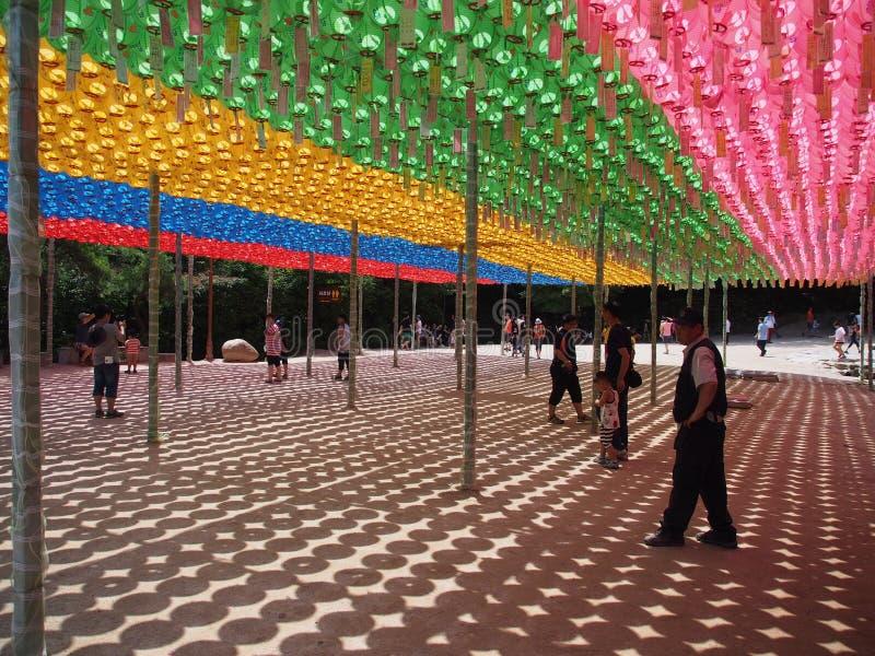Lampions au temple bouddhiste, Corée du Sud photos libres de droits