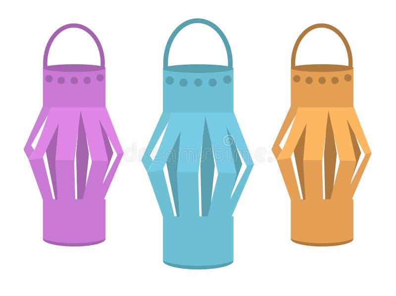 Lampions, décorations de fête pendant la nouvelle année, anniversaire, Sukkot illustration stock