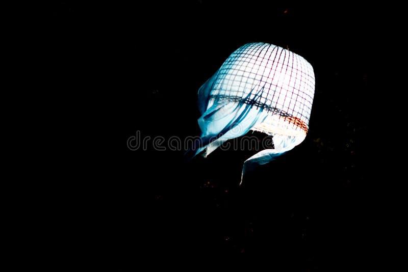 Lampions sur le ciel nocturne noir photographie stock libre de droits