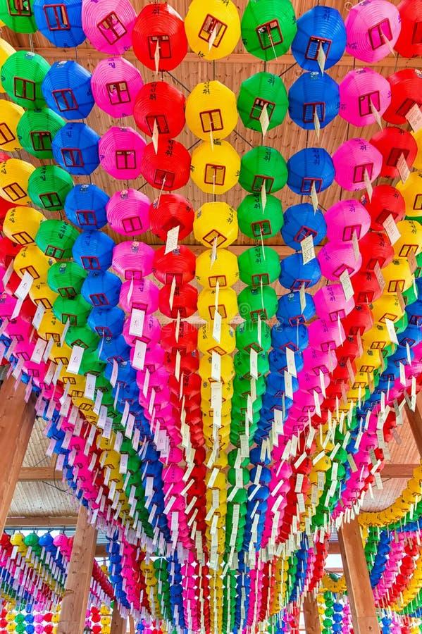 Lampiony przy Bongeunsa świątynią obrazy stock