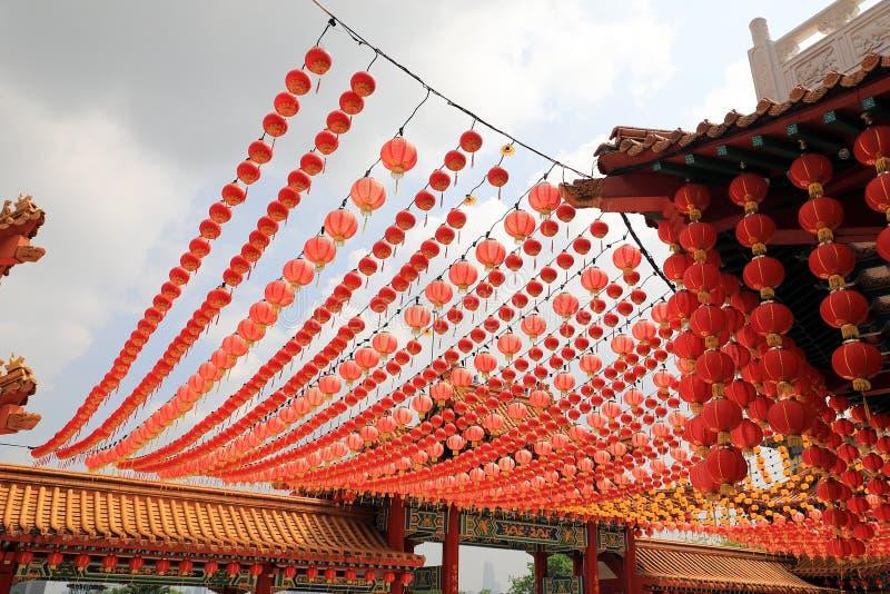 Lampiony przy Chińską świątynią obrazy royalty free