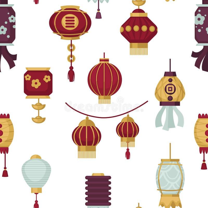 Lampiony Wschodni i Orientalny stylowy bezszwowy deseniowy wektor royalty ilustracja