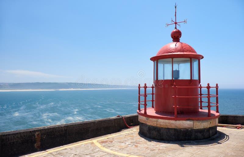 Lampisteria rossa del faro sul fondo del mare e del cielo blu a Nazar immagine stock libera da diritti
