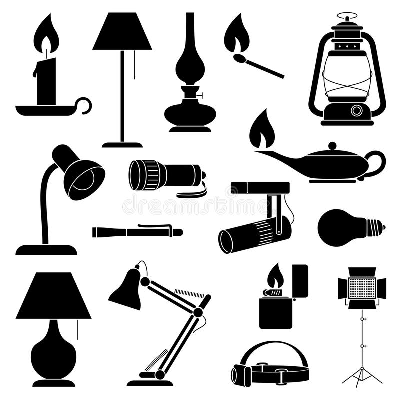 Lampkonturer stock illustrationer