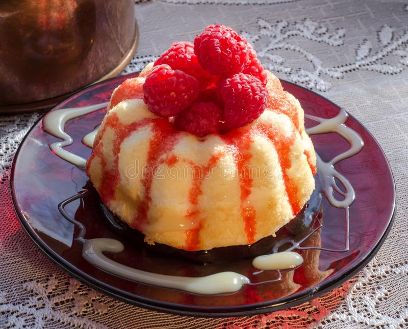 Lampone Angel Food Cake immagine stock