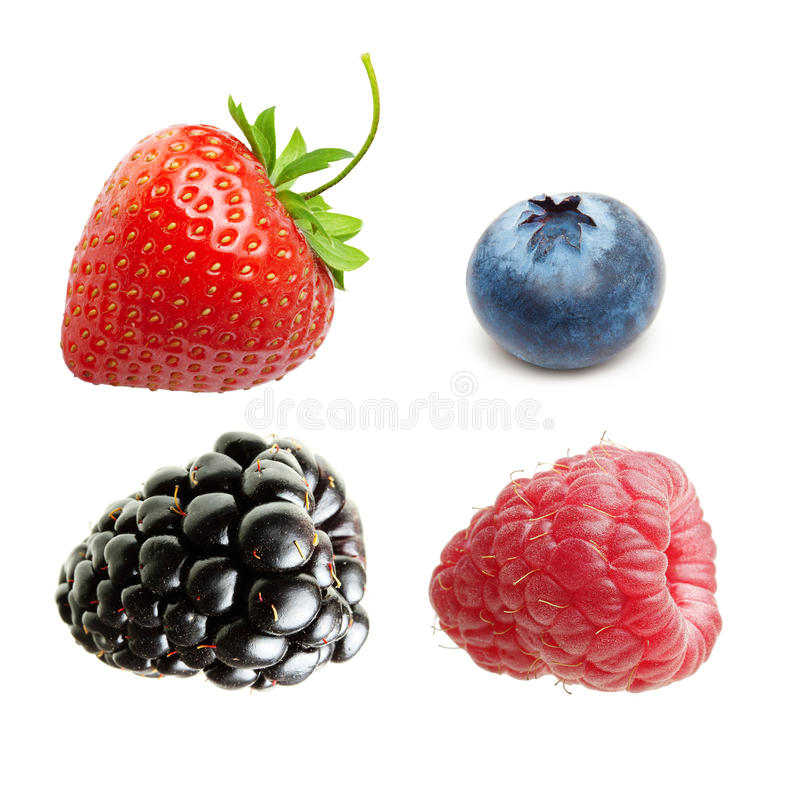 Lampone, fragola e mirtillo isolati fotografia stock