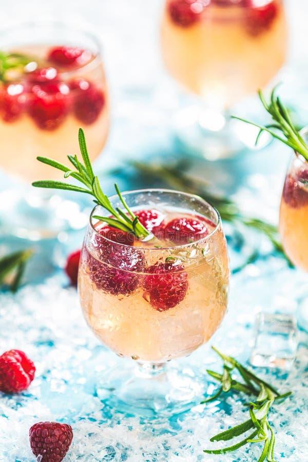 Lampone rosa della bevanda di Natale con i rosmarini ed il ghiaccio fotografia stock