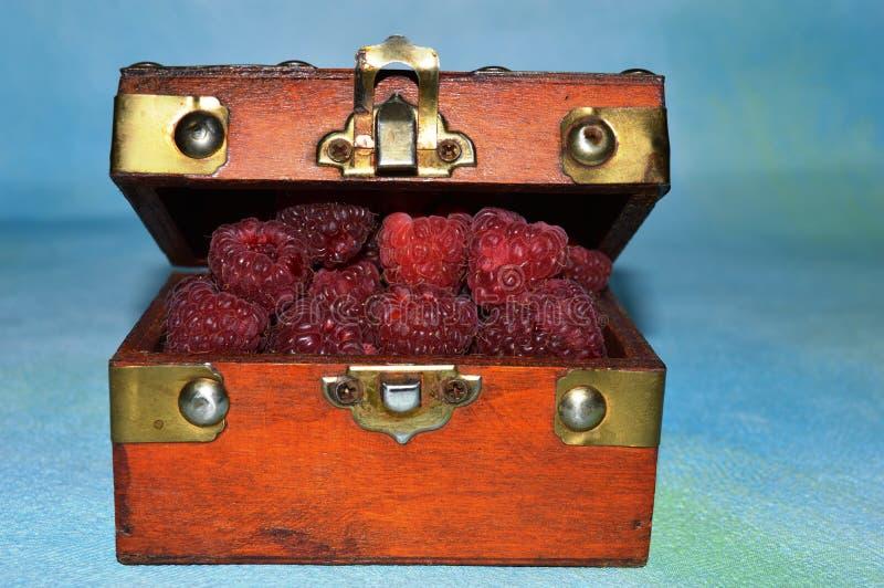Lamponi maturi in una scatola di legno immagine stock libera da diritti