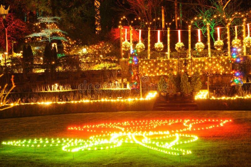 lampor för butchartjulträdgårdar royaltyfri foto