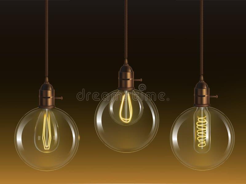 Lampor för exponeringsglasboll med den glödande kulavektorn stock illustrationer