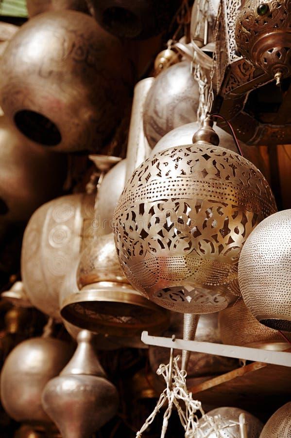 Lampor i gata shoppar i cairo, egypt fotografering för bildbyråer
