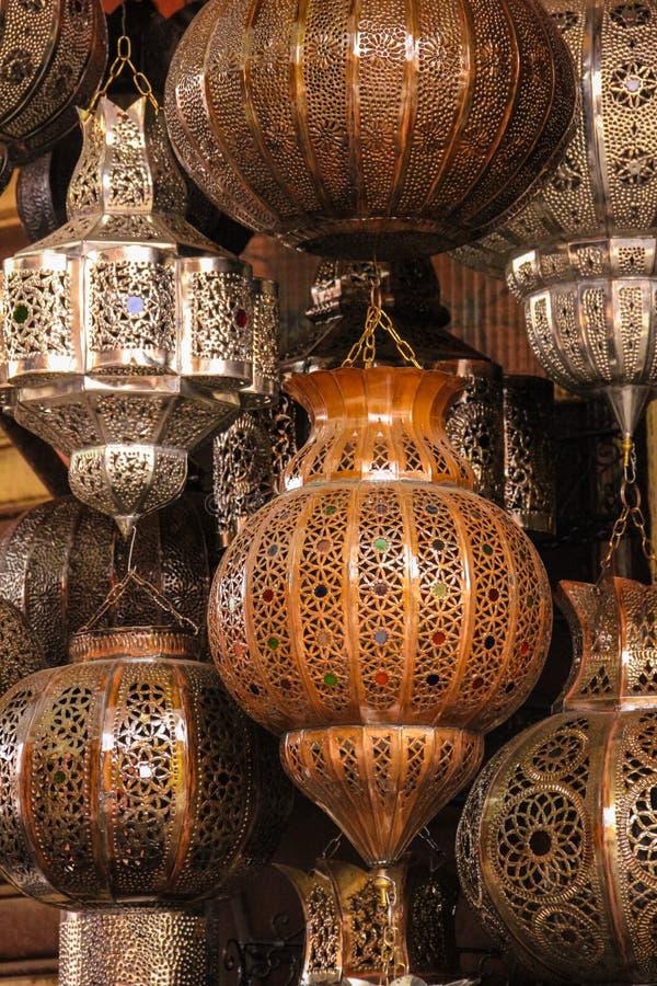 Lampor och lyktor marrakesh morocco arkivfoton