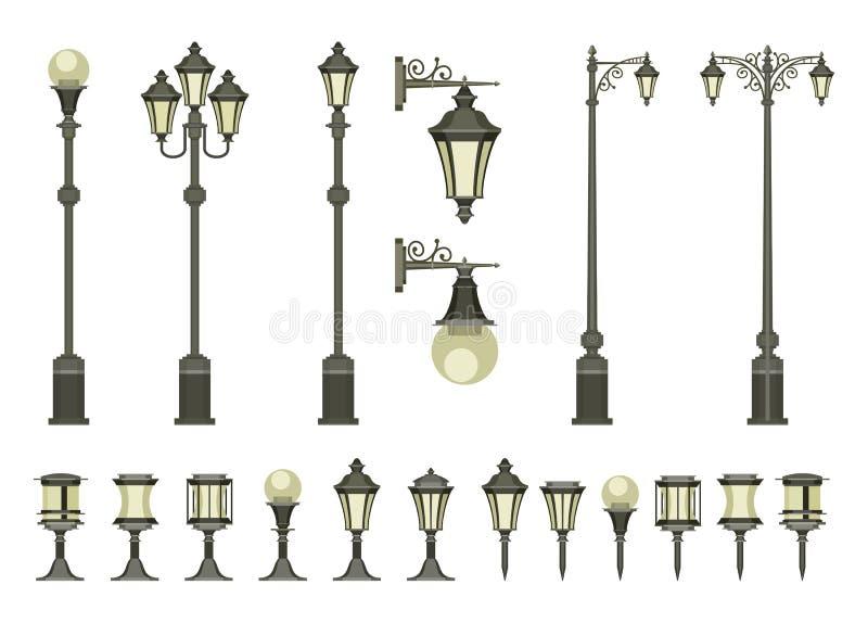 lampor ställde in gatan royaltyfri illustrationer