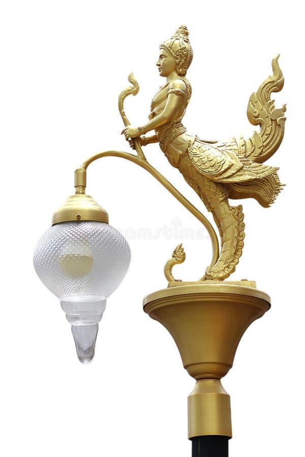 Lampowe złote Kinnaree statuy odizolowywać na bielu zdjęcia royalty free