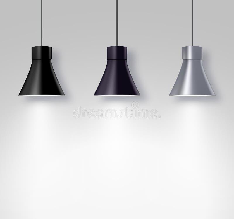 Lampowi iluminatorzy na ściennym wnętrzu Przejrzysty lekkiego skutka projekt Światło reflektorów wektoru wyposażenie ilustracji